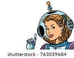 girl astronaut isolated on... | Shutterstock .eps vector #763039684