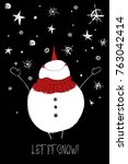 hand drawn christmas greeting... | Shutterstock .eps vector #763042414