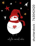 hand drawn christmas greeting... | Shutterstock .eps vector #763042420