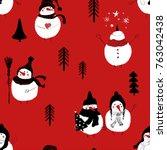 hand drawn christmas seamless...   Shutterstock .eps vector #763042438