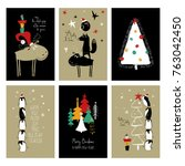 set of christmas greeting cards.... | Shutterstock .eps vector #763042450
