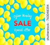 cyber monday sale   shiny... | Shutterstock .eps vector #763048354