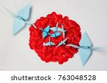 family of paper cranes from... | Shutterstock . vector #763048528