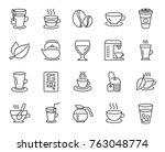Coffee And Tea Line Icons. Set...