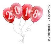 new 2018 year balloons design . ... | Shutterstock .eps vector #763049740