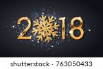 2018 new year greeting card of  ... | Shutterstock .eps vector #763050433