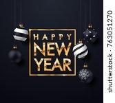 xmas gold text banner. premium... | Shutterstock .eps vector #763051270