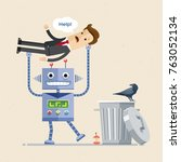 robot vs. human employee. the... | Shutterstock .eps vector #763052134