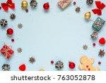 christmas composition. frame... | Shutterstock . vector #763052878