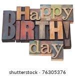 happy birthday in antique wood... | Shutterstock . vector #76305376