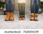 cropped parents little son legs ... | Shutterstock . vector #763054159