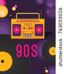 poster retro party. music of...   Shutterstock .eps vector #763055026
