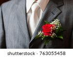 buttonhole with rose detail of...   Shutterstock . vector #763055458