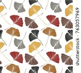 vector illustration ginkgo... | Shutterstock .eps vector #763057969