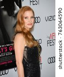 "Small photo of LOS ANGELES, CA - November 16, 2017: Jessica Chastain at the AFI Fest 2017 Closing Night premiere of ""Molly's Game"" at the TCL Chinese Theatre"