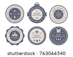 vintage labels set with merry... | Shutterstock .eps vector #763066540