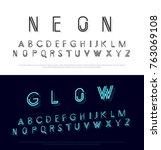 neon modern font and alphabet... | Shutterstock .eps vector #763069108