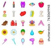 glamor icons set. cartoon set... | Shutterstock .eps vector #763069948