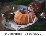 christmas cake with cranberries ... | Shutterstock . vector #763070020