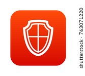 shield icon digital red for any ... | Shutterstock .eps vector #763071220