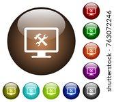 desktop tools white icons on... | Shutterstock .eps vector #763072246