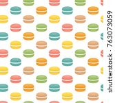 seamless pattern with macaroons.... | Shutterstock .eps vector #763073059