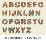 crayon painting retro font set   Shutterstock . vector #763076704