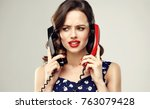 confused annoyed woman with two ...   Shutterstock . vector #763079428