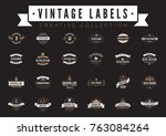 vintage labels logo collection... | Shutterstock .eps vector #763084264