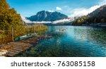 majestic mountain landscape in... | Shutterstock . vector #763085158