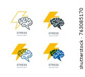 vector set of human brain and... | Shutterstock .eps vector #763085170