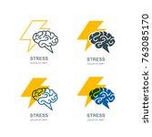 vector set of human brain and... | Shutterstock .eps vector #763085170