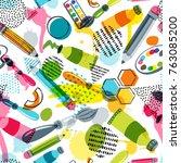 art materials for craft design... | Shutterstock .eps vector #763085200