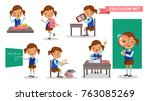 girl student set. cute little... | Shutterstock .eps vector #763085269