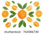 orange or tangerine with mint... | Shutterstock . vector #763086730