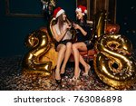 two beautiful happy girls with... | Shutterstock . vector #763086898