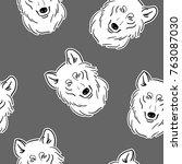 wolf grey seamless vector... | Shutterstock .eps vector #763087030