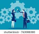 business teamwork and hand... | Shutterstock .eps vector #763088380