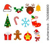 vector christmas icons isolated ... | Shutterstock .eps vector #763088800