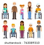 sick and disabled characters... | Shutterstock . vector #763089310