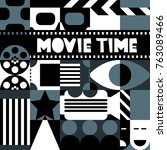 vector black and white retro... | Shutterstock .eps vector #763089466