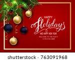 holidays greeting card for... | Shutterstock .eps vector #763091968