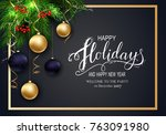 holidays greeting card for... | Shutterstock .eps vector #763091980