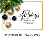 holidays greeting card for... | Shutterstock .eps vector #763091983