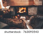 warm cozy fireplace with real... | Shutterstock . vector #763093543