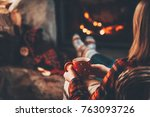 woman and her teddy bear by the ... | Shutterstock . vector #763093726
