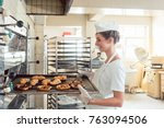 baker woman getting bakery... | Shutterstock . vector #763094506