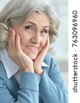 smiling senior woman  | Shutterstock . vector #763096960