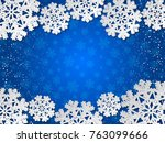 bright winter blue paper cut... | Shutterstock .eps vector #763099666
