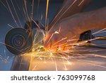 close up of worker hands... | Shutterstock . vector #763099768